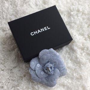 Chanel Blue Sequin Gingham Camellia Brooch Vintage